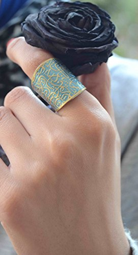 Aqua Copper Ring with Beautiful Arabic calligraphy engraved on to a thick ring, Fairy Tales Ring, wide adjustable ring, Gift for her, exotic one of a kind unique ring