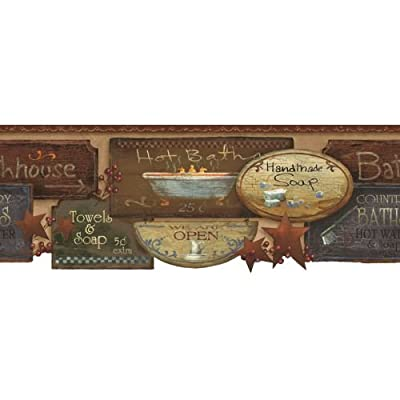 York Wallcoverings Best Of Country Bath Signs Border