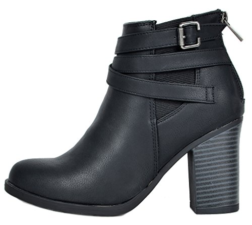 TOETOS Women's Chicago-03 Black Faux Leather Pu Chunky Heel Ankle Boots Size 8.5 M US by TOETOS (Image #1)
