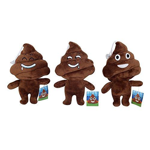Cute Emoji Poo Poo Emoticon Brown Stuffed Plush Soft Kids Toy 3pcs(Emoji at random) (Monster High Dog)