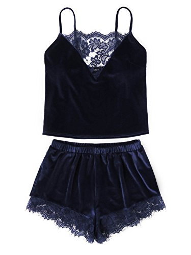 DIDK Women's Lace Trim Velvet Bralette and Shorts Pajama Set Navy -