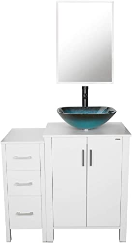 36 Bathroom Vanities,Glass Vessel Sink Combo Turquoise Square Sink ,36 Bathroom Cabinet Set with Mirror 24 Bathroom Vanity 12 Side cabinet ,MDF-Board,INCL ORB Faucet,Mounting Ring,Drain Parts