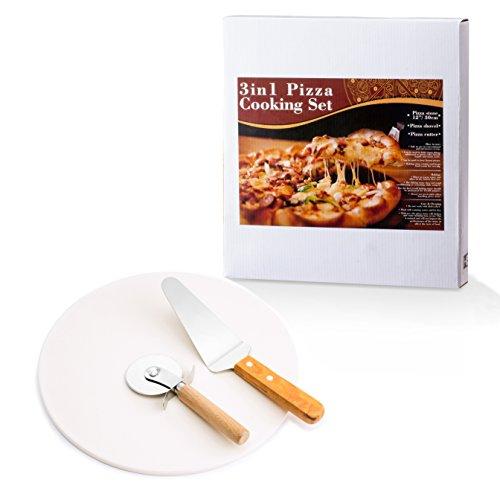 Pizza Stone Set: 3-in-1 Pizza Stone + Pizza Cutter + Pizza Server Stone...