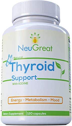 Thyroid Support Supplement with Iodine 120 Capsules, 100% MONEY BACK GUARANTEE, Vitamin B12, Zinc, Ashwagandha - Energy, Metabolism, Mood & Weight loss Formula, MADE IN USA