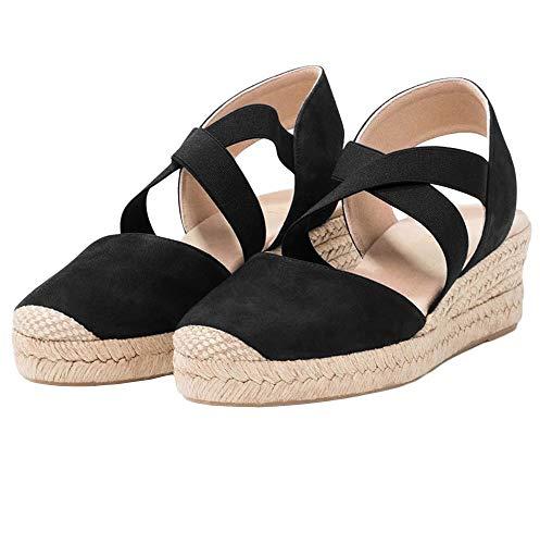 Nailyhome Womens Espadrilles Platform Wedge Sandals Elastic Crisscross Strappy Closed Toe Mid Heel Sandals Black ()