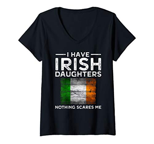 (Womens Dad Daughter Shirt Nothing Scares Me Irish Mom Flag V-Neck)