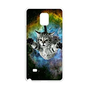 Diy Space Cat Flying Phone Case for samsung galaxy note 4 White Shell Phone JFLIFE(TM) [Pattern-1]