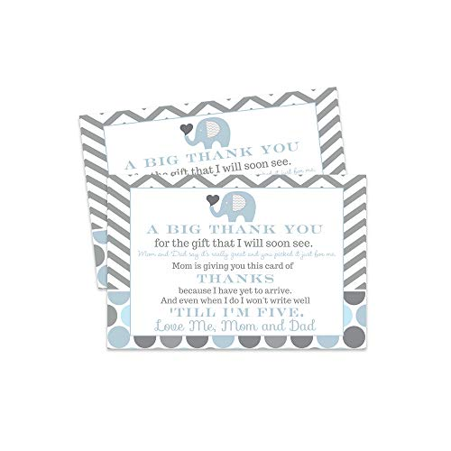 Blue Elephant Baby Shower Thank You Postcard - 15 Cards Only