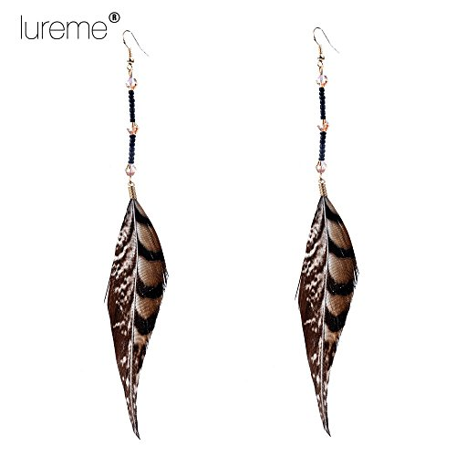Lureme Native American Jewelry Beaded String with Crystal and Pheasant Hook Feather Dangle Earrings (02003506)