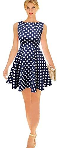 Aimerfeel marina de guerra de la vendimia azul polka dot patinadores verano una talla de ropa línea 34 46 azul marino y blanco