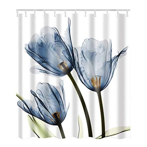 - Artown Blue Tulip Flower Shower Curtain, Elegant Romantic Vintage Watercolor Floral Series Digital Printing, Polyester Fabric Bathroom Decor with 12 White Hooks, 72