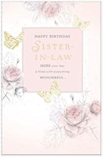 Sister In Law Happy Birthday Pink Rose And Butterfly Gold Foil New Greeting Card