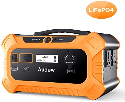 Audew 500Wh Portable Power Station,200W 156250mAh LiFePO4 Solar Generator with AC DC USB Output for CPAP Camping Emergency Outdoor