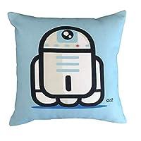 Funda de almohada cuadrada de funda de almohada de funda de almohada de funda de almohada de algodón decorativo decano decorativo dececos 18 x 18 pulgadas (azul)