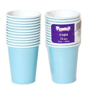 Blue 9 Oz Paper Cups - Party Color Paper Cups Light Blue 9oz 24 Count