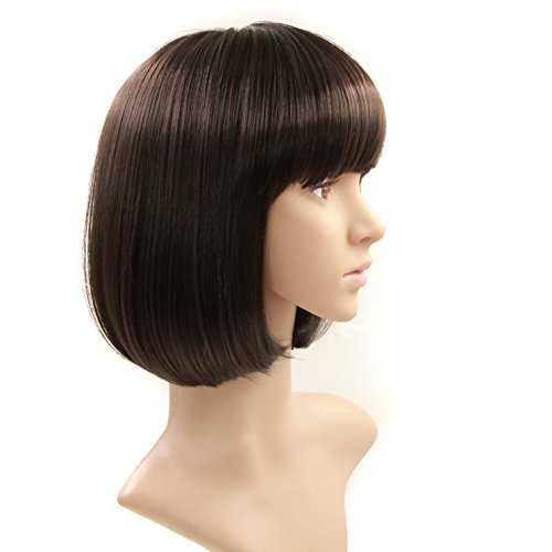 Charming Christmas Gift Short Bob Wigs Straight Bang Cosplay for Xmas Party Costume Wig Natural as Real hair 11 inch (Black) by FannisCoco (Image #1)