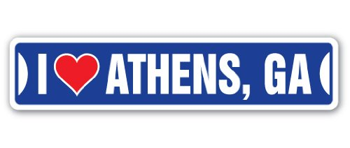 I LOVE ATHENS, GEORGIA Street Sign ga city state us wall road décor gift (Us Ga Athens)