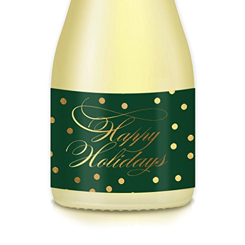 Happy Holidays, Set of 20 Christmas Mini-Champagne or Wine Bottle Labels, Season's Greetings, New Year's Eve, Winter Yuletide Party Decorations, Gift Idea, Guest Favors, Elegant Pony-Size -