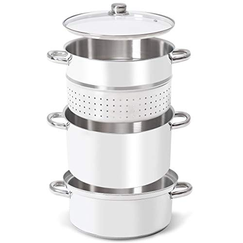 PASTEL Juicer Stainless Steel Steam Steamer Fruit Lid 11 Quart Stove Top Tempered Glass Lid Tempered Aluminum Extractor Juice Home Kitchen 3 Layers 12 D x 14 H in