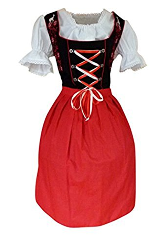 Girl German Costume Pattern Beer (Dirndl World Womens Di20rs, German Bavarian 3 Piece Midi Dirndl Dress for Oktoberfest, Blouse, Apron, Size)