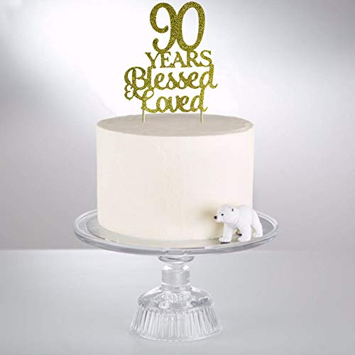90 Years Blessed Loved Cake Topper For 90th Birthday Wedding Anniversary Party Decorations Gold