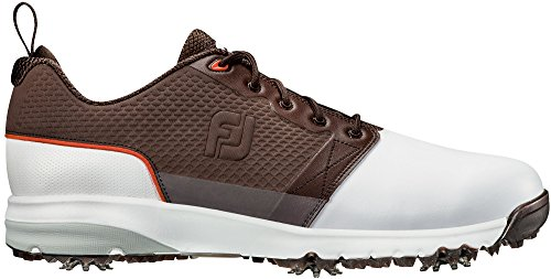(FootJoy Men's ContourFIT-Previous Season Style Golf Shoes White 10.5 M Brown, US)