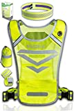 High Visibility Reflective Running Vest with 3 Pockets, 2 Adjustable Ankle/Armbands, 1 Headband & Bag | Night Safety Gear Set for Dog Walking, Jogging, Cycling or Motorcycle | Men & Women