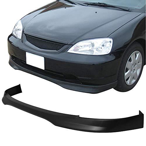 Front Bumper Lip Fits 2001-2003 Honda Civic 2 & 4 Door Coupe & Sedan | T-R Style PP Unpainted Black Front Lip Spoiler Spiltter by IKON MOTORSPORTS | - Lip 2001