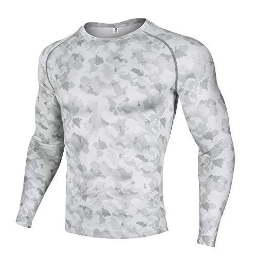 (Xtextile Men's Compression Camouflage Undershirt Cool Dry Baselayer Long Sleeve Shirts (Grey/White Camo, Medium))