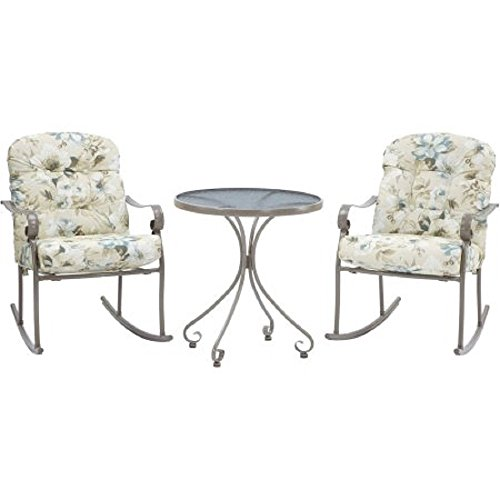 Willow Springs 3 Piece Rocking Chairs & Table Outdoor Furniture Bistro Set, Cream, Seats 2