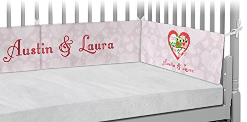 Valentine Owls Crib Bumper Pads (Personalized) by RNK Shops