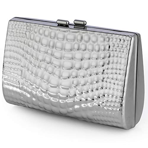 Clare Embossed Metal Croco Clutch Purse Cocktail Wedding Party Handbag Women Evening bag in Silver ()
