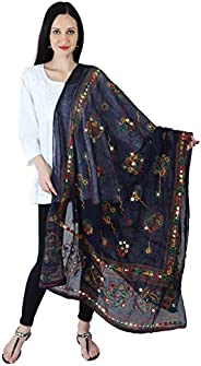 YATHABI Cotton Long Women's Kutch Work Dupatta Embroidery Floral Handicraft Shawl Wrap | Stole | S