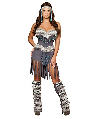 Roma Costume 3 Piece Indian Hottie Costume, Grey, (Rave Costume Male)