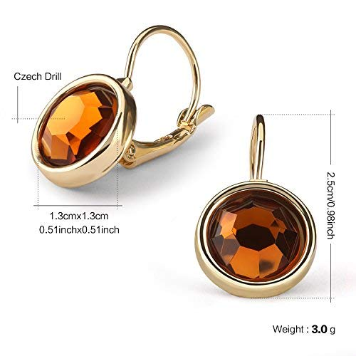 Leverback Dangle Earrings,UHIBROS Stainless Steel Cubic Zirconia Round Drop Earrings