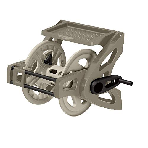 Suncast Resin Wall Mounted Garden Hose Real - Durable Outdoor Hose Reel with EasyLink, Crank Handle, and Storage Tray - 175' Hose Capacity - Taupe