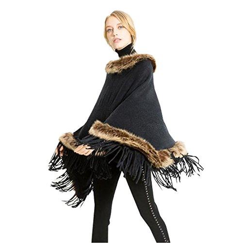 Noir Automne Hiver Echarpe Femme Poncho Acvip Chaud Epaisse Châle Foulard Style qBAz8vPz