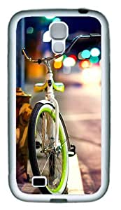 Bicycle on the street TPU Rubber Soft Case Cover For Samsung Galaxy S4 SIV I9500 White