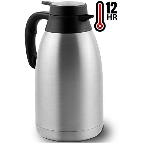 Coffee Carafe (68 Oz) - Keep water hot up to 12 Hours, stainless steel thermos carafes, double walled Large Insulated Vacuum flask, Beverage Dispenser By Vondior