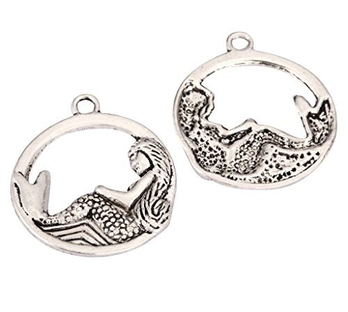 10pcs Mermaid Charms Beads 23mm Antique Silver Tone for Charms Bracelet Necklace Jewelry Findings #mcz1208