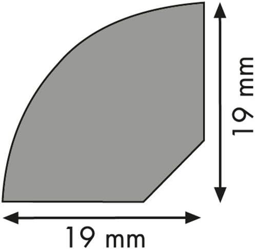 Viertelstab Bastelleiste Abschlussleiste Abdeckleiste aus MDF in Candela Wei/ß 2600 x 19 x 19 mm