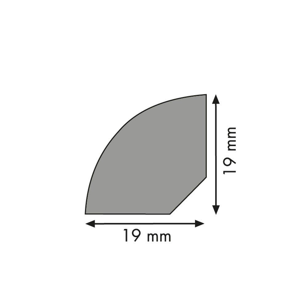 Viertelstab Bastelleiste Abschlussleiste Abdeckleiste aus MDF in Buche 2600 x 19 x 19 mm