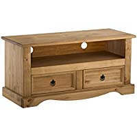 Corona 2-Drawer Flat Screen TV Unit, Waxed Pine