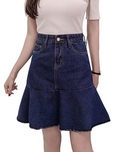 Tanming Women's Above Knee length Ruffle Hem A-Line Denim Skirt (Large, Blue)