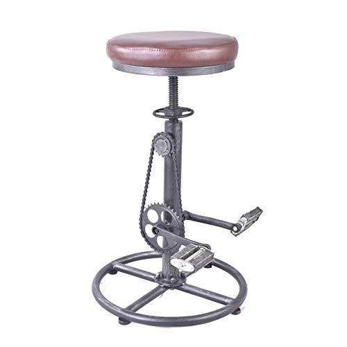 Topower Vintage DIY Bar Stool PU Soft seat & Iron Pedal Retro Industrial Height Adjustable Bicycle Wheel Design bar - Iron Bar Stools Classic