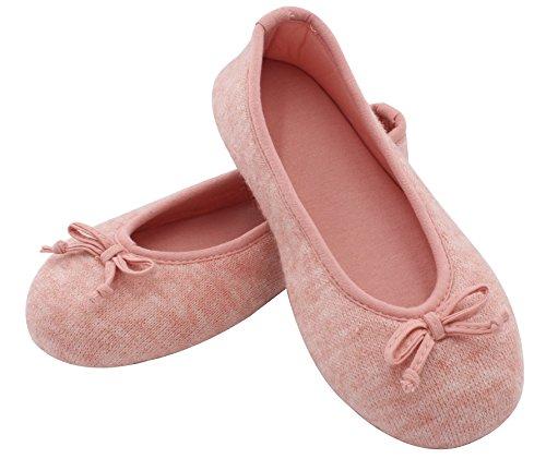 HomeTop Damen Balletthausschuhe aus Baumwolle und Gedächtnisschaum für Drinne Rosa