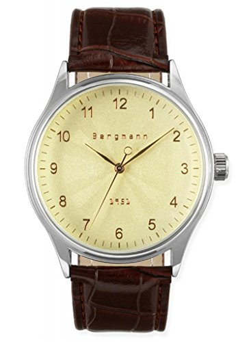 Bergmann-Classic-Mens-Vintage-Watches-Old-Gentleman-Style-Brown-Leather-Yellow-Gold-Dial-1951