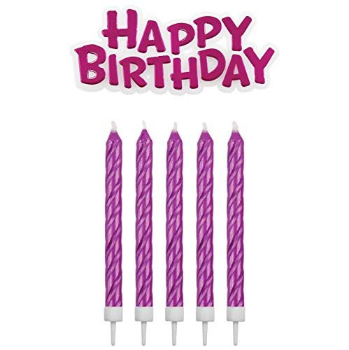 PME Velas con Placa de felicitación de cumpleaños, Rosa, 1,5 ...