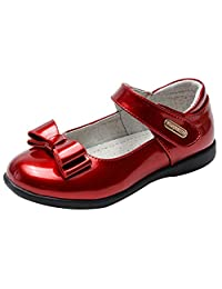 La Vogue Girls Leather Mary Jane Shoes Low Heels Bowknot Princess Wedding Party Shoes