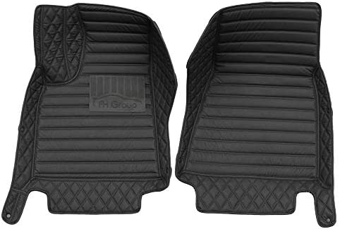 FH Group Custom-fit Heavy Duty Faux Leather Front Car Floor Mats fits 2012–2018 Tesla Model S, Black Color, Mixed Pattern